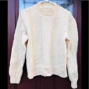 Vintage Hand-Knit Wool Fisherman's Sweater Cream